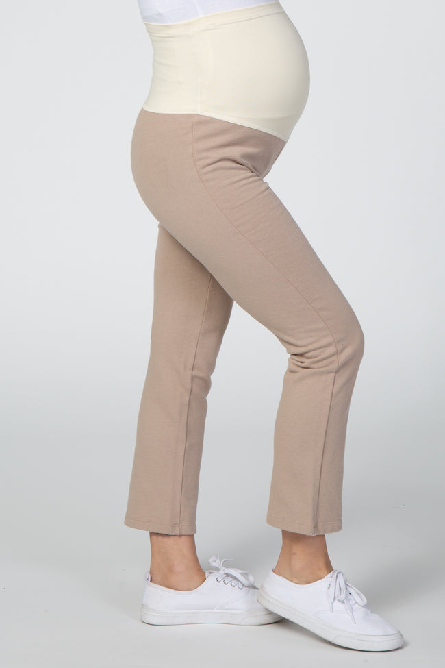 Taupe Cropped Wide Leg Maternity Pant