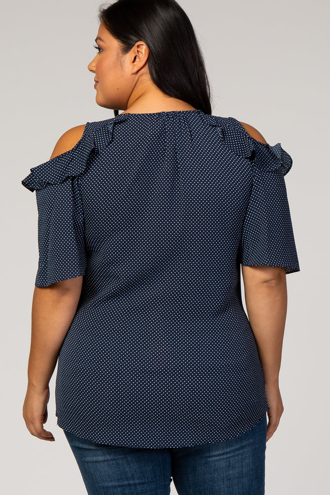 Navy Polka Dot Ruffle Tie Front Plus Maternity Top