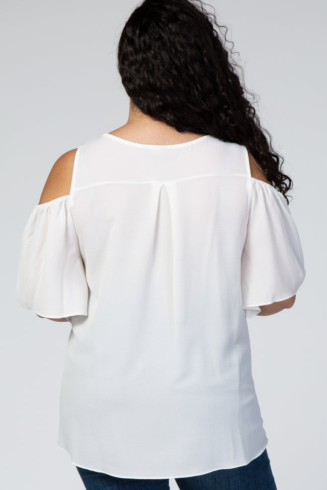 Ivory Chiffon Cold Shoulder Plus Maternity Top