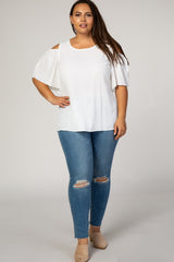 Ivory Chiffon Cold Shoulder Plus Top