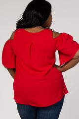 Red Chiffon Cold Shoulder Plus Top