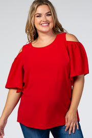 Red Chiffon Cold Shoulder Plus Maternity Top