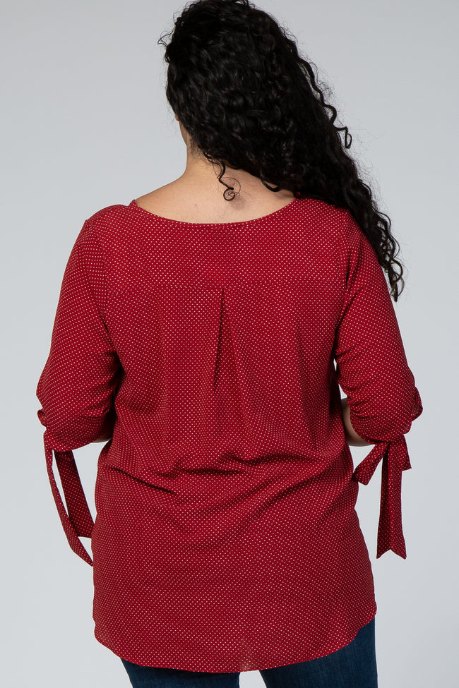 Red Polka Dot Tie Sleeve Maternity Plus Top