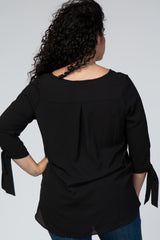 Black Tie 3/4 Sleeve Maternity Plus Top