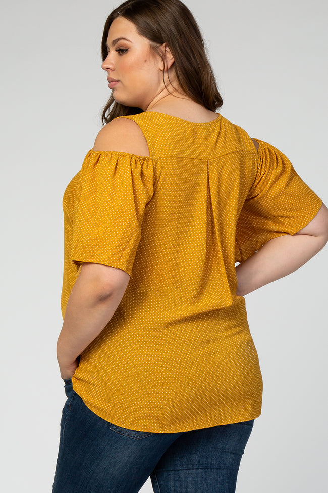 Yellow Polka Dot Cold Shoulder Plus Maternity Top