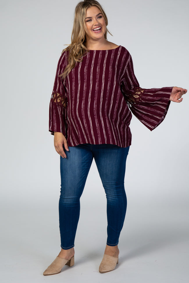 Burgundy Striped Crochet Bell Sleeve Plus Maternity Top