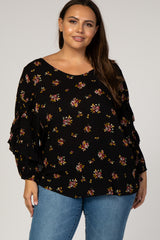 Black Floral Ruffle Puff Sleeve Plus Top