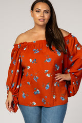 Rust Floral Off Shoulder Plus Top