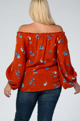 Rust Floral Off Shoulder Maternity Plus Top
