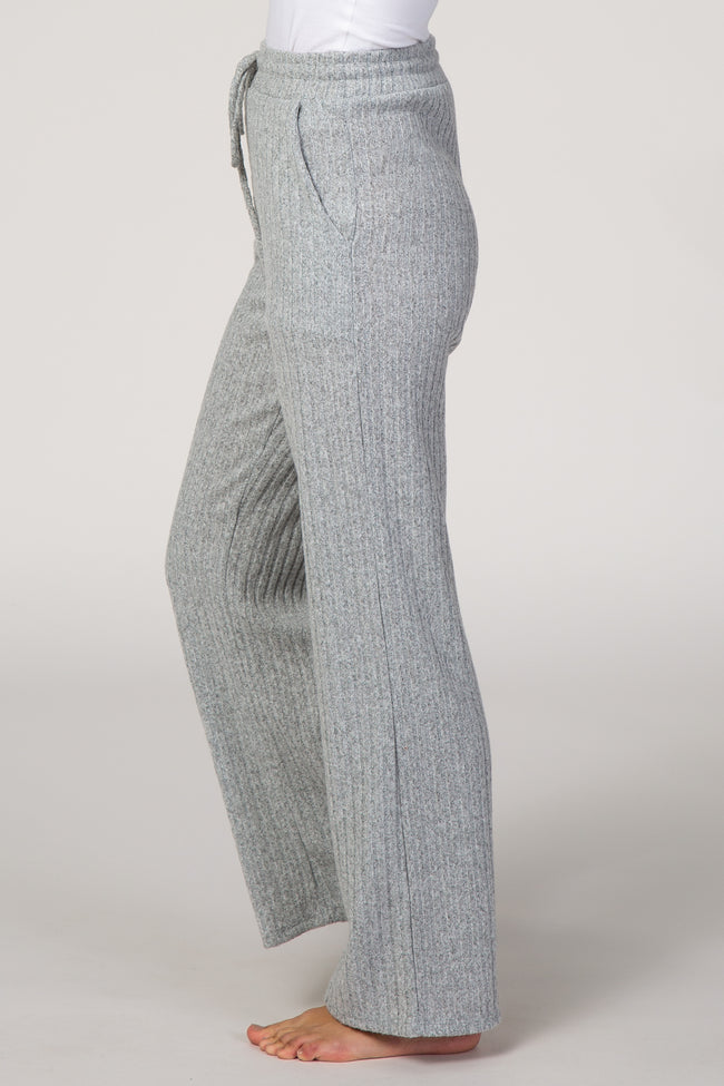 Heather Grey Knit Drawstring Waist Lounge Pants