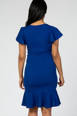 Royal Blue Ruffle Accent Fitted Maternity Wrap Dress