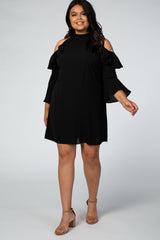 Black Cold Shoulder Ruffle Sleeve Plus Maternity Dress