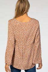 Rust Floral Hi-Low Bell Sleeve Maternity Top