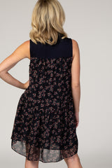 Navy Blue Mock Neck Woven Dress