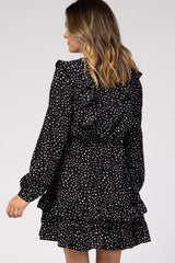 Black Polka Dot Ruffle Mini Dress