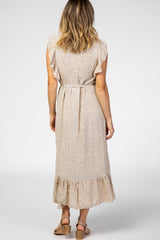 Taupe Polka Dot Ruffle Sleeve Maxi Dress