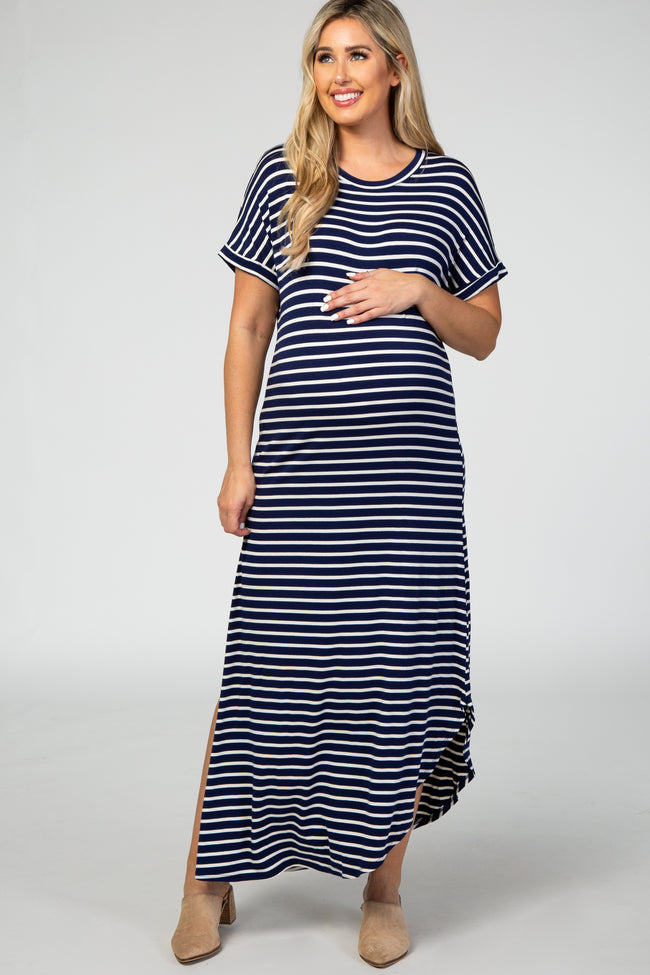Navy Striped Short Sleeve Side Slit Maternity Maxi Dress
