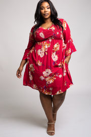 Magenta Floral Bell Sleeve Plus Dress