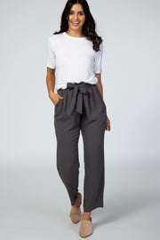 Grey Paper Bag Waist Pants