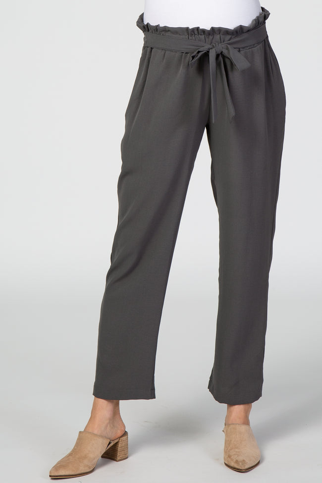 Grey Paper Bag Waist Maternity Pants