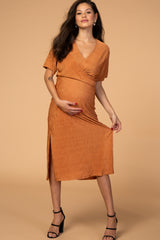 Waverleigh Orange Ribbed V Neck Wrap Style Maternity Midi Dress