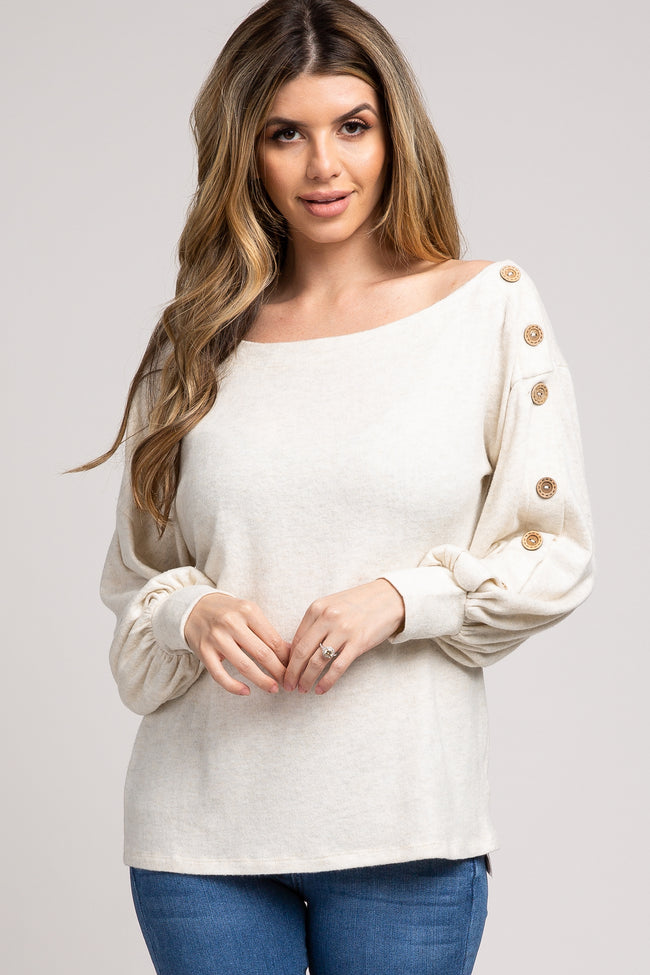 Cream Button Sleeve Off Shoulder Top
