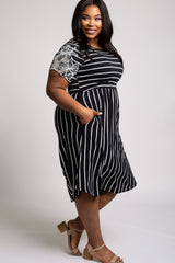 Black Striped Floral Sleeve Plus Dress