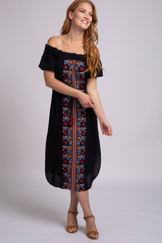 Black Off Shoulder Embroidery Maternity Midi Dress
