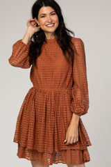 Rust Long Sleeve Lace Dress