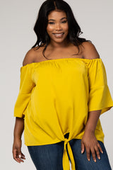 Yellow Off Shoulder Tie Front Maternity Plus Top