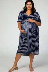 Navy Striped Button Down Plus Maternity Midi Dress
