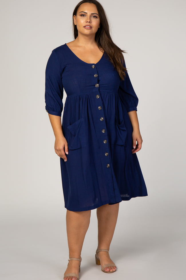 Navy Blue Button Front 3/4 Sleeve Maternity Plus Midi Dress