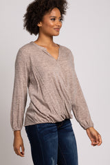 Taupe Long Sleeve Draped Wrap Top