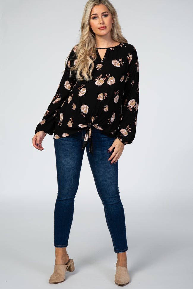 Black Floral Keyhole Tie Front Maternity Top
