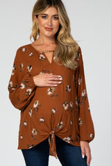 Rust Floral Keyhole Tie Front Maternity Top
