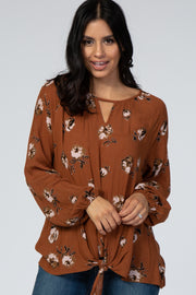 Rust Floral Keyhole Tie Front Top