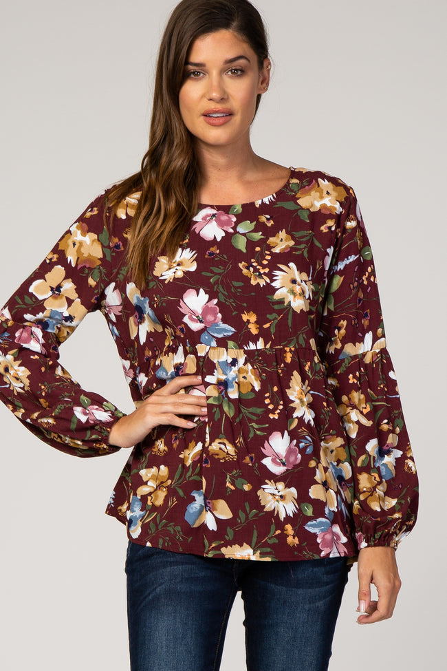Burgundy Floral Puff Sleeve Babydoll Top
