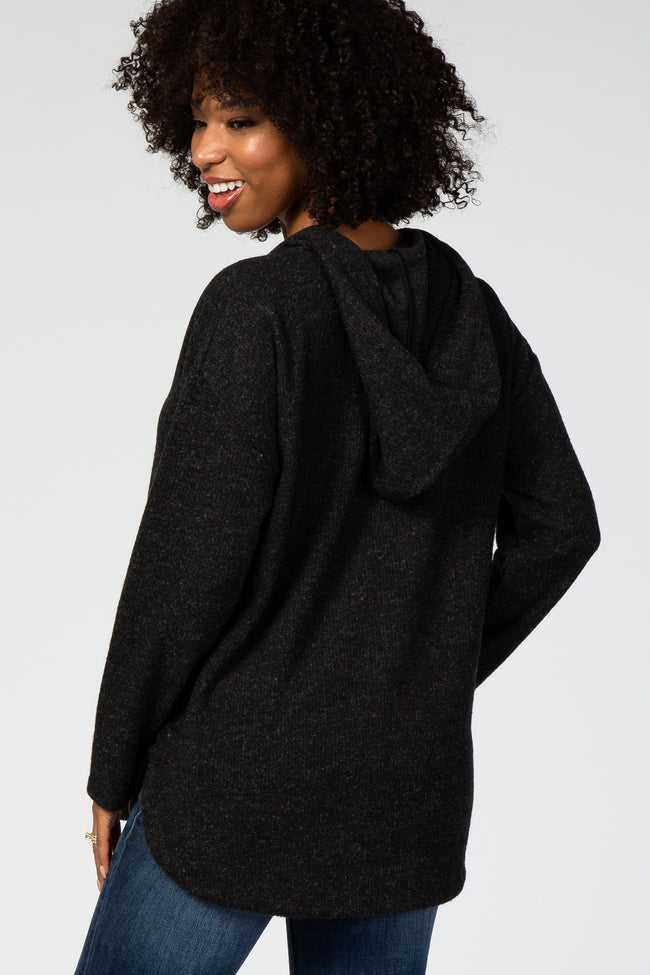 Charcoal Ribbed Maternity Hoodie