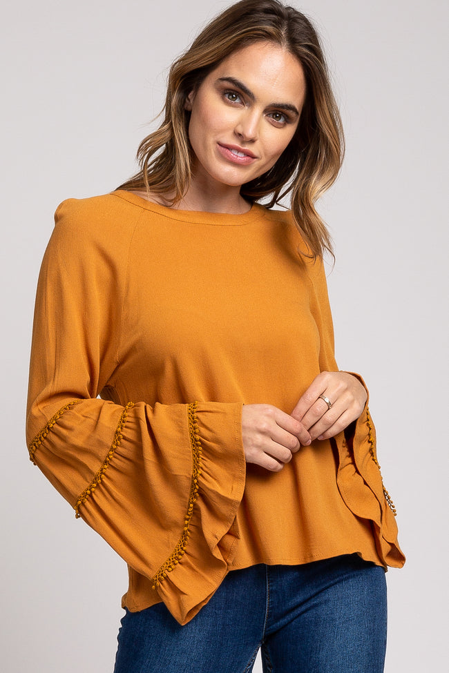 Mustard Crochet Trim Bell Sleeve Top
