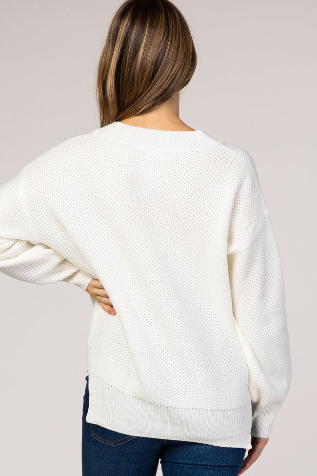 Ivory Knit V-Neck Maternity Sweater
