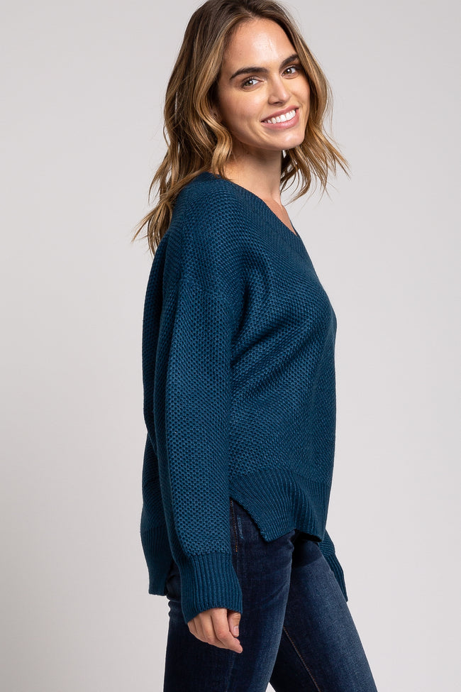 Teal Knit V-Neck Sweater