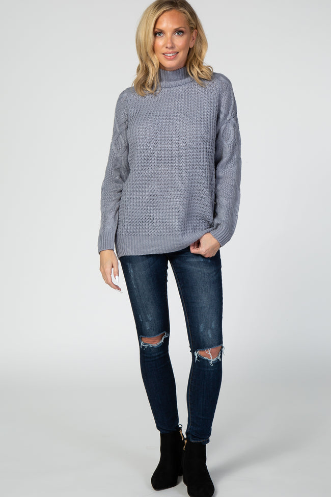 Grey Layered Back Cable Knit Sleeve Sweater
