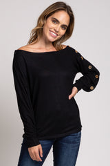 Black Button Sleeve Off Shoulder Maternity Top