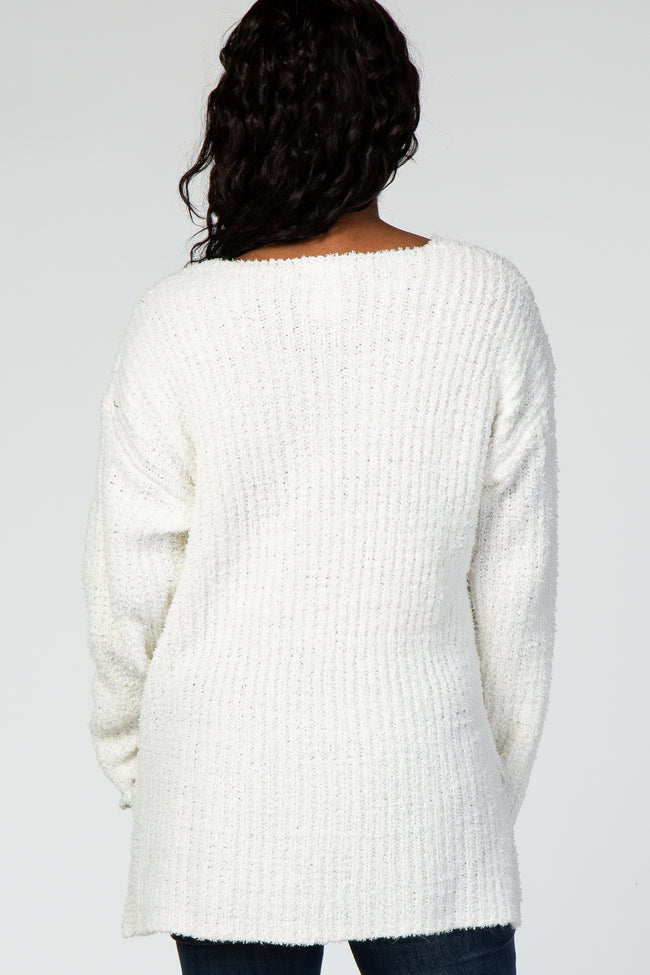 Ivory Ribbed Knit Maternity Sweater