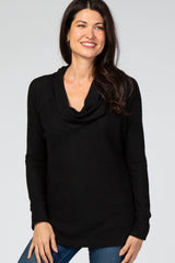 Black Waffle Knit Cowl Neck Hi-Low Maternity Top