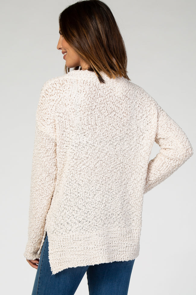 Cream Popcorn Knit Pullover Sweater