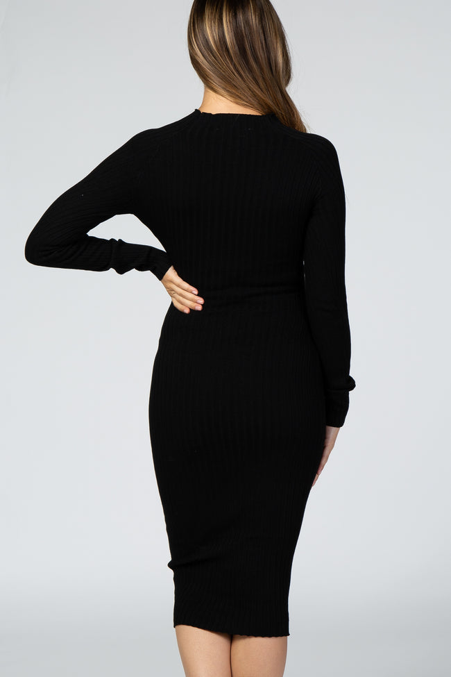 Black Long Sleeve Knit Fitted Maternity Midi Dress