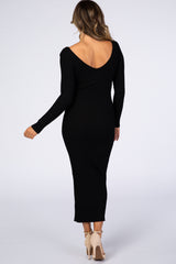 Waverleigh Black V-Neck Long Sleeve Fitted Maxi Dress