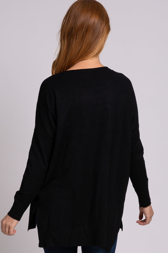 Black Solid Hi-Low Sweater