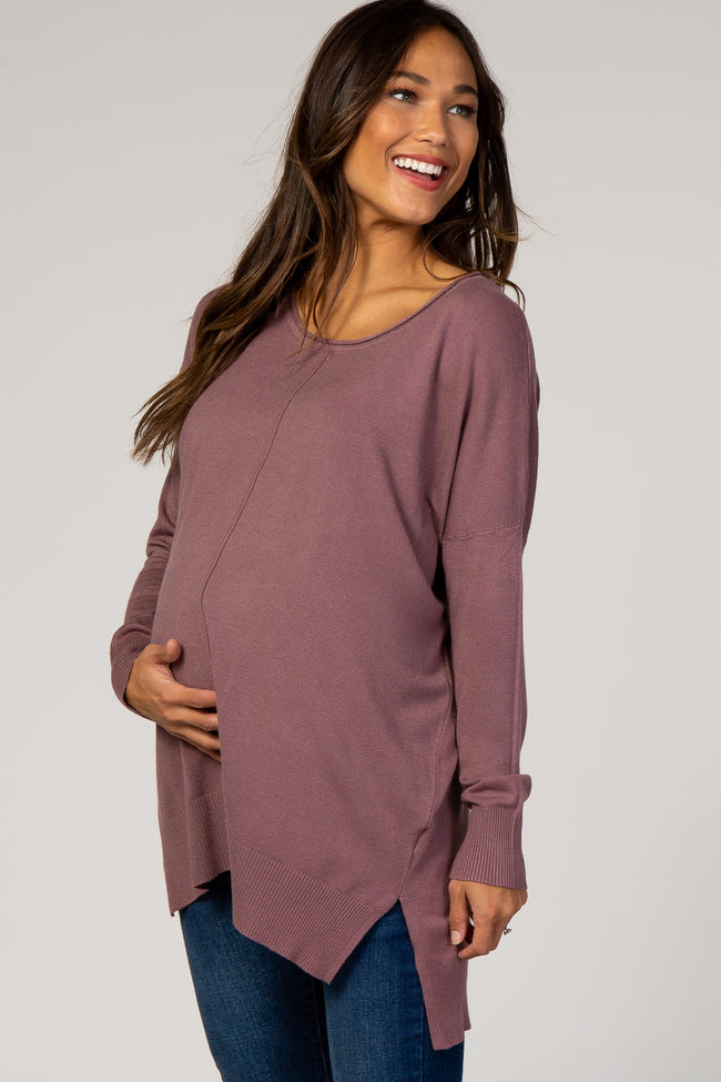 Mauve Solid Hi-Low Maternity Sweater